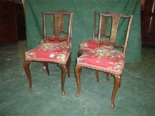 Set of four Edwardian mahogany dining chairs on