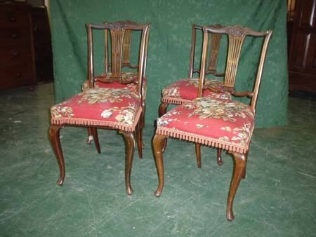 11020: Set of four Edwardian mahogany dining chairs on