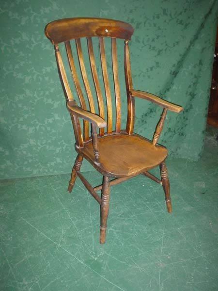 11022: 19c Windsor elm seat slat back elbow chair