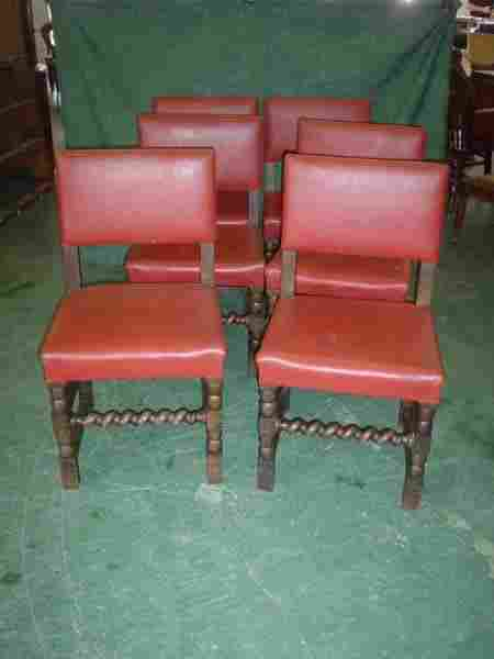 11027: Set of six oak dining chairs with barley twist s