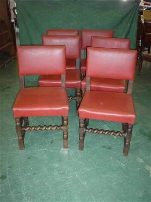 Set of six oak dining chairs with barley twist s