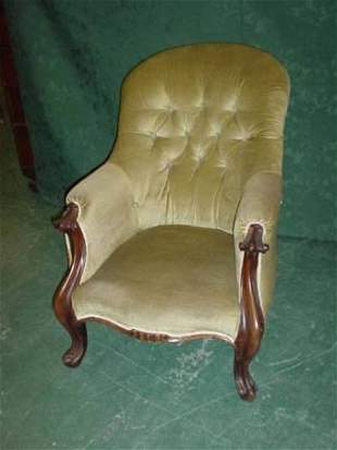 Early 19c upholstered armchair with mahogany sho