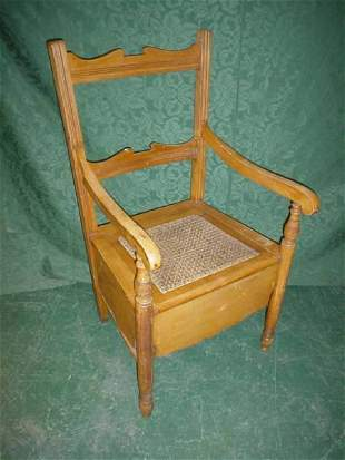 Two Victorian single chairs and commode armchair