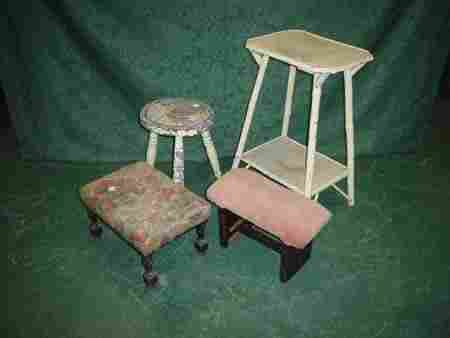 11036: Milking stool, two other stools and two tier bam