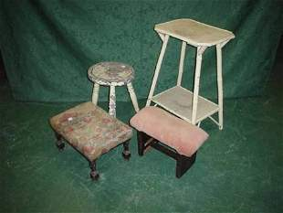 Milking stool, two other stools and two tier bam
