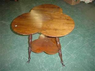 19c two tier mahogany clover leaf shaped top tab
