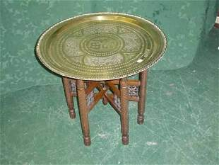 Indian brass tray top folding table