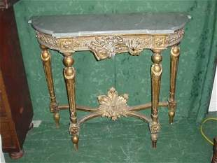 Louis XVI style carved gilded console table with