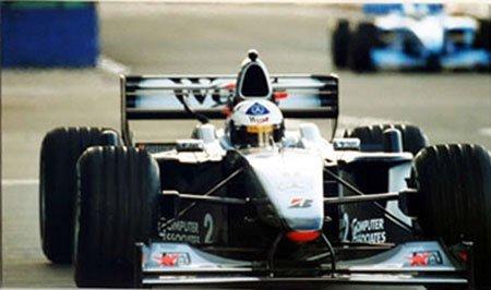 2001: David Coulthard pit lane photo, colour in A4 moun