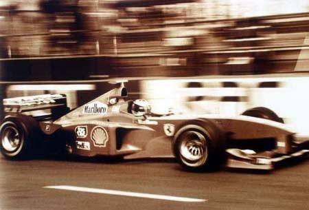 2008: Michael Schumacher Ferrari unframed A4 sepia phot