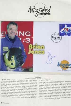 2013: Brian Jones signed postal cover world balloon fli