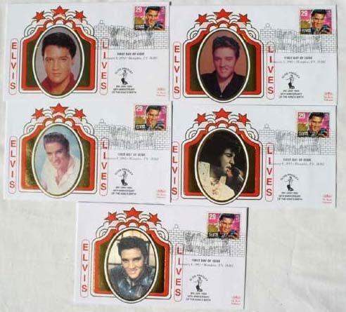 2014: Elvis Presley FDCs x 5 January 8th 1993 Memphis T