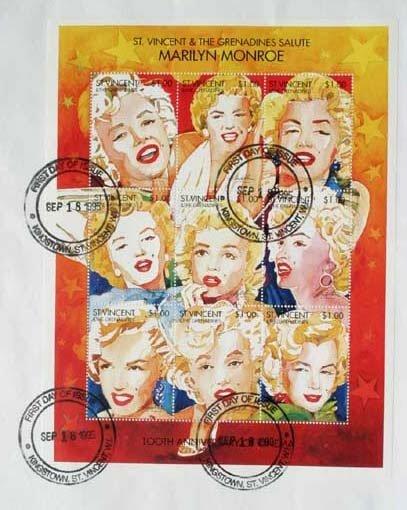 2015: Marilyn Monroe stamp sheet FDC September 18th 199