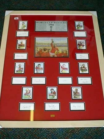 3501: Large framed collage of World Cup winners 1966 al