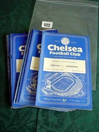 3522: Thirteen Chelsea football club programmes from 19