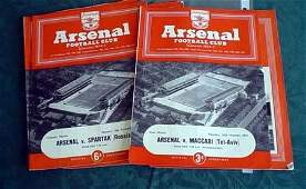 3523: Ten early Arsenal programmes from 1950s to includ