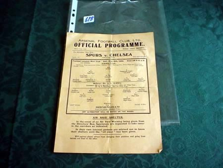 3618: Arsenal v Birmingham 1940 single sheet programme