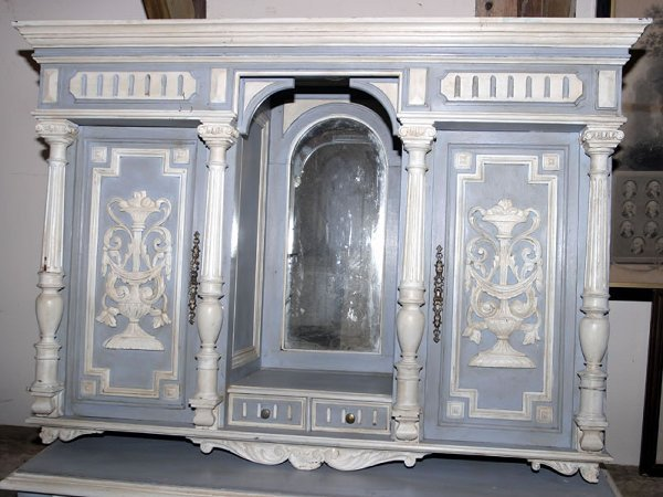 5008: French provincial painted wall cabinet extensive