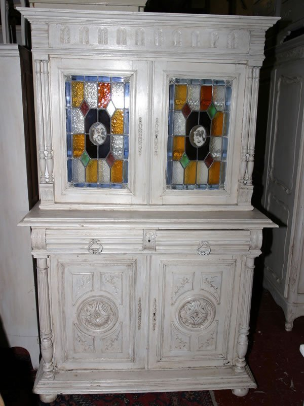 5012: c1900 French provincial painted dresser, ornate d