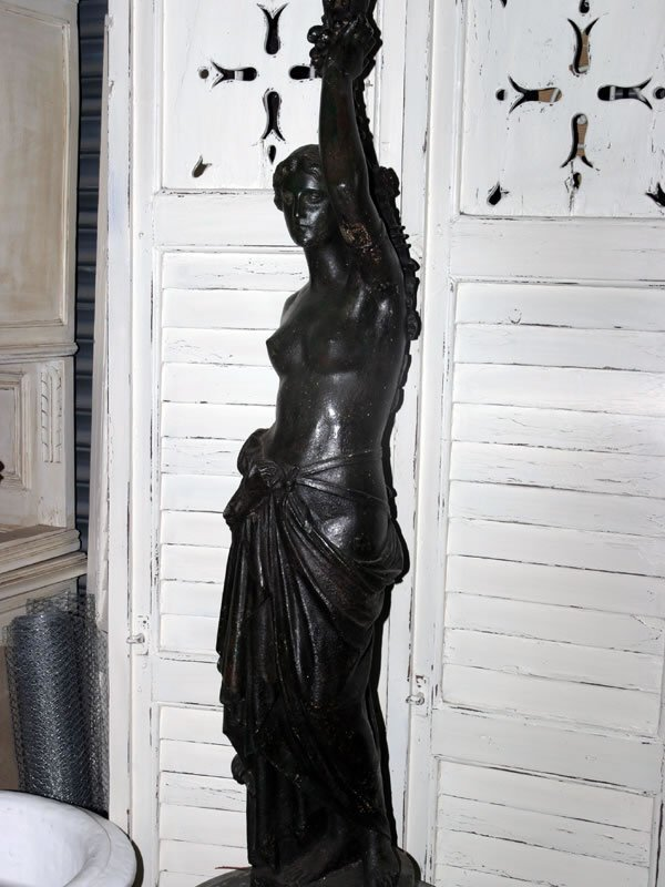 5092: Mid 19c cast iron study of a classical maiden sca