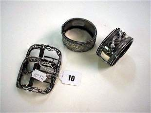 Pair early 19c silver hallmarked shoe buckles plu