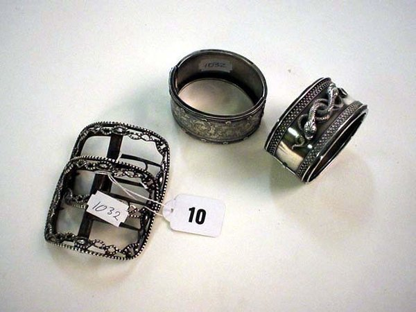1010: Pair early 19c silver hallmarked shoe buckles plu