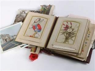 Victorian small leather bound photograph album wi