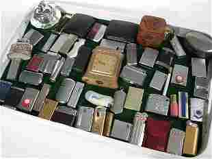 Large collection of decorative cigarette lighters