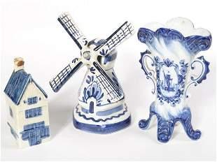 Royal Delft miniature blue cottage plus two other