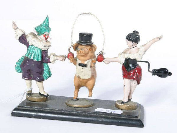 1024: Small cast and painted circus performing automato