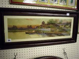 Late 19c framed and glazed water colour of river