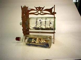 Two old 'ships in bottle' one mounted in fretwork