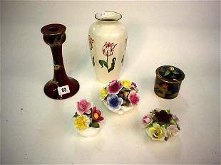 Six decorative china items including three bone c