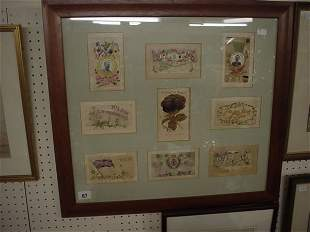 Framed and glazed display set of WW1 embroidered