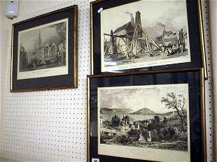 Three glazed and framed engravings of 19c west co