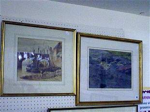 19c water colour of boats under bridge together w