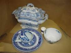 1341: Small collection of blue and white china includin