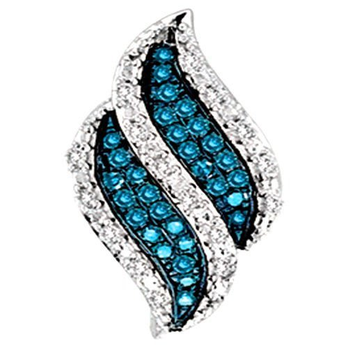 Blue Diamond Pendant Wave Fashion Charm Aqua 10k White