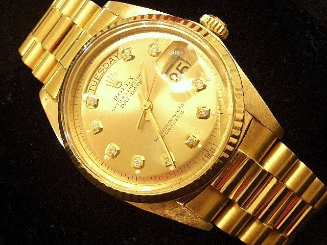 MEN 18K GOLD DIAMOND ROLEX DAY DATE PRESIDENT CHAMPAGNE