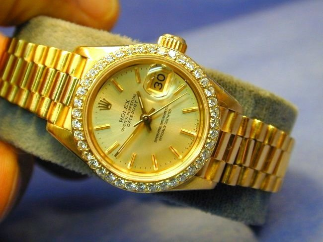 Women's Rolex Datejust 18K Gold White Roman