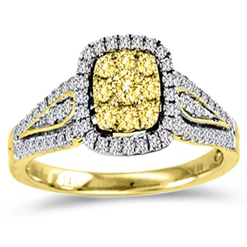 Yellow Diamond Engagement Ring Cluster Halo Anniversary