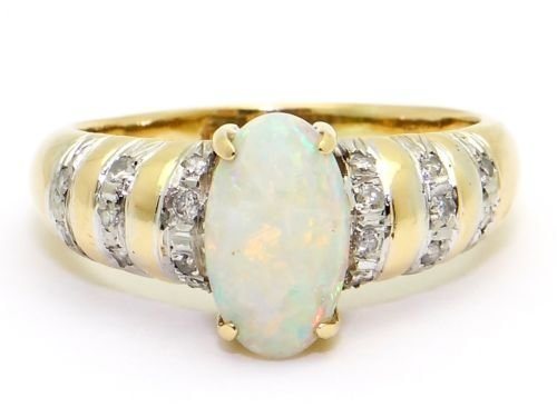 Estate 14kt Yellow Gold Multi Color .79ct Opal Diamond