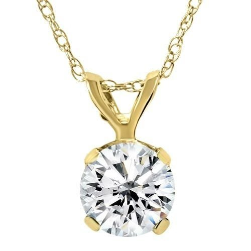 3/4CT Diamond Solitaire Pendant 14K Yellow Gold