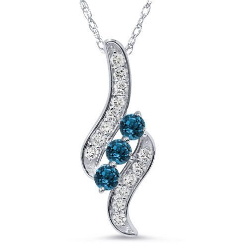 1/3CT 3-Stone Blue Diamond Pendant 14 KT White Gold W/