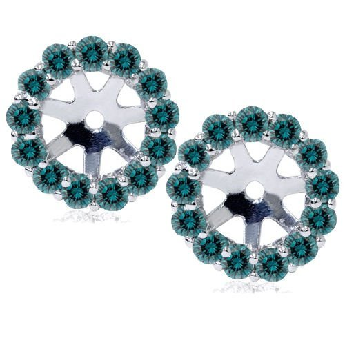 .70CT Halo Blue Diamond Earring Jackets 14K White Gold