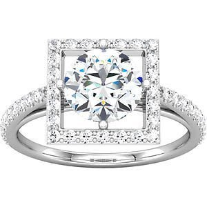 1.75CT Halo Diamond Contemporary Engagement Ring 14K Wh
