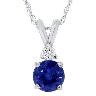 1.00CT Blue Sapphire & Diamond Solitaire Pendant 14K Wh