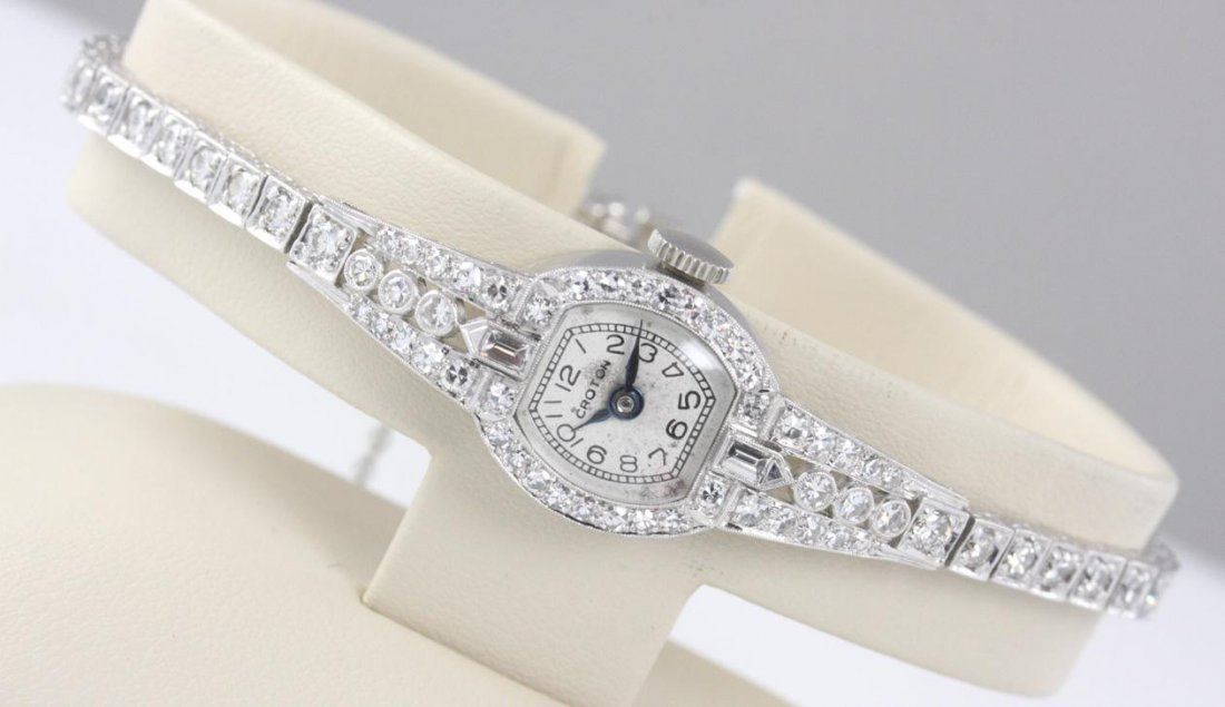 Ladies Vintage Croton Platinum Diamond Watch