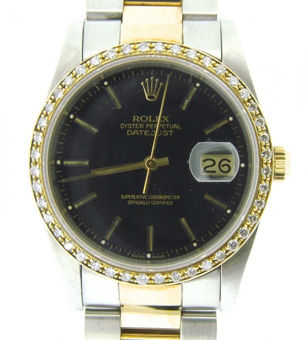 MENS ROLEX DATEJUST 18K GOLD STAINLESS STEEL WHITE