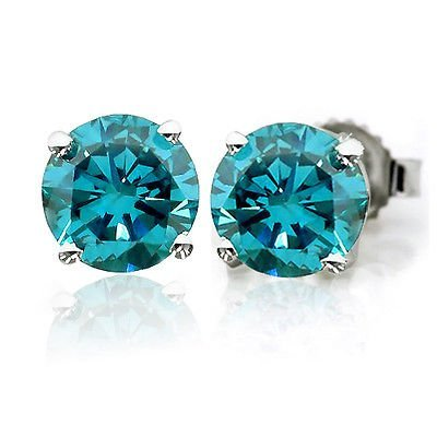 2/3 Ct Blue Diamond Stud Earrings in 14K White Gold